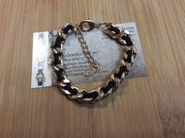 Vintage 1980's Aldo Gold and Black Ribbon Chain Link Bracelet   - $30.00