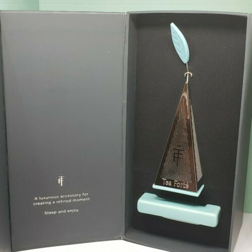 Primary image for Tea Forte LUSSO Platinum Plated Tea Infuser Pyramid Turquoise Ceramic Tray -BNIB