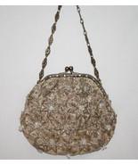 CHRISTIANA LAPETINA India Silk Lined Taupe Gold Beaded Evening Bag    #1186 - $89.00