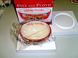 Fitz and Floyd Damask Holiday Wishes Christmas Decorative Sentiment Bowl - $444,82 MXN