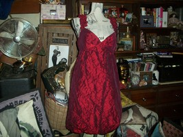 ANTHROPOLOGIE MUSE Romantic Scarlet Red Taffeta Dress Size 12 - $24.75