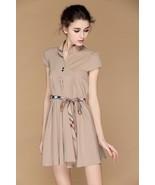 Boutique Designer Hampton Nova  Check Belt Tunic Shirt Dress Beige S XS $75 - $37.18