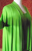 ETOILE green 2 piece stretch rayon tank blouse & sweater jacket M (T47-02I8G) image 3