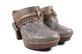 Gianni Bini Chain Stud Gray Leather Platform Wedge Heel Clogs Women Size 9.5 M - $34.64