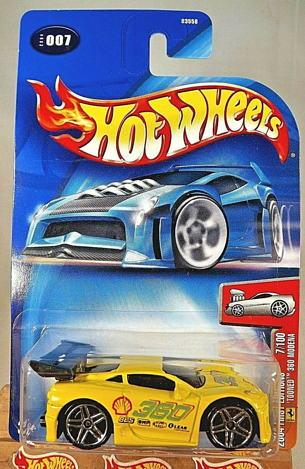 Primary image for 2004 Hot Wheels #7/100 First Editions TOONED 360 MODENA Yellow Variation w/Pr5Sp