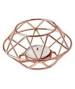Fashioncraft 8742 Geometric Design Rose Gold Metal Tealight Candle Holder - £7.89 GBP