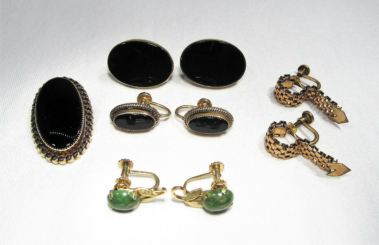 Primary image for Vintage Gold Filled Earrings Lot of 4 Pairs & Brooch C2503