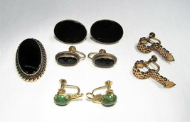 Vintage Gold Filled Earrings Lot of 4 Pairs & Brooch C2503 - $33.80