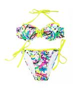 Two Piece Doodle Print Ruffle Bandeau Bikini Swimwear Bathing Suit  - $56.99