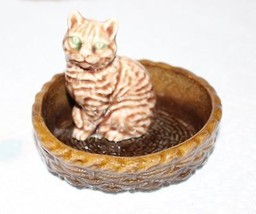 Wade Figurine Cat Standing in Cat Bed Blue Eyes - $23.38