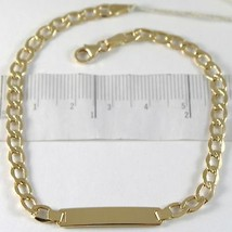 Pulsera de Oro Amarillo 750 18K, Bordillo y Placa para Grabado, 21 CM - $472.49