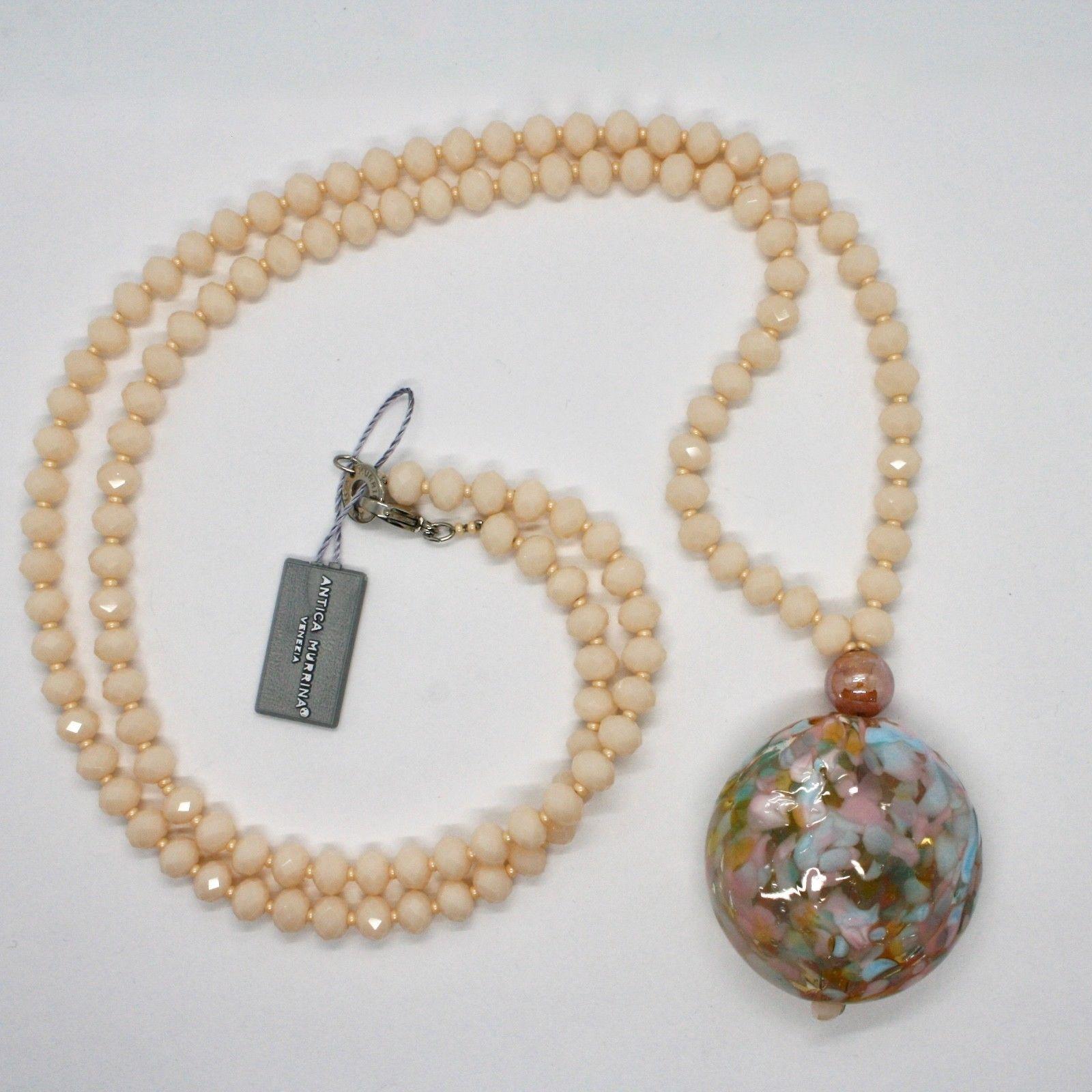 NECKLACE ANTICA MURRINA VENEZIA WITH MURANO GLASS CREAM PINK BEIGE COA76A03
