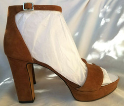 Vince Camuto Sathina Seed Brown Suede Heel Open Toe Sandals Size 8.5 M NEW - $44.55