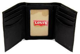 Levi's Men's Coated Leather Credit Card Trifold Wallet Embossed Logo Black image 4