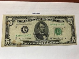 United States Lincoln $5 circulated banknote 1950 #2 - $9.95
