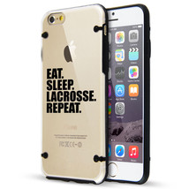 For iPhone SE 5s 6 6s 7 Plus Clear TPU Hard Case Cover Eat Sleep Lacross... - £11.41 GBP