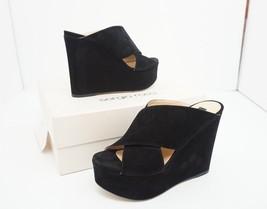 Sergio Rossi A78360 Women's Platform High Wedge Heels Sandals Black Sued... - $324.70