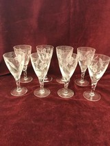 Vintage Etched Clear Crystal Stemware Cordials Champagnes Wine 8 Piece Wheat - $42.56