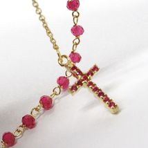 18K YELLOW GOLD ROSARY BRACELET, FACETED RED RUBY ROOT, CROSS & MIRACULOUS MEDAL image 6