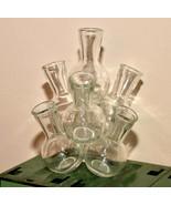 Vintage connected fused clear glass beaker vase floral arrangement - $39.59