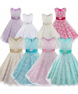 Girls Floral Lace Dress Wedding Flower Girl Dress Formal Party Ball Gown... - £53.45 GBP+