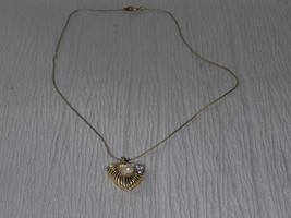 Estate Herringbone Chain w Silvertone & Goldtone Triangle w Faux Pearl &... - $8.59