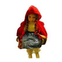 Vintage Red Hooded Girl Doll Long Braided Ribbon Hair Nursery Rhyme Porc... - $49.49