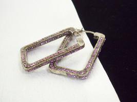 LAVENDER RHINESTONES Rectangle HOOP Pierced Earrings Pewter Gray Metal V... - $15.83