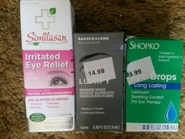 (3) EYE DROPS Similasan Irritated Relief Bausch Lomb Lumify Redness Exp ... - $19.97
