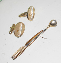 Sterling Golf clubs jewelry 1950s Hickok USA tie clip and cufflinks brassy tone  - $16.00
