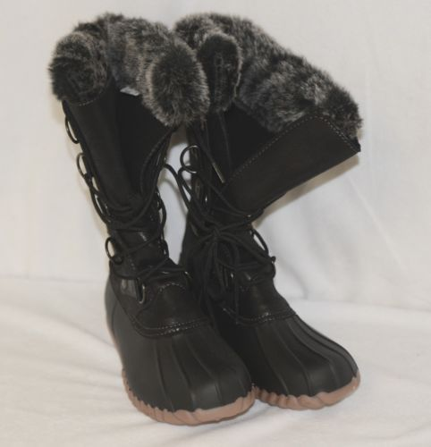 YUU Fiona Black Faux Fur Synthtic Winter Lace Up Boots 6M