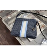 NWT Michael Kors Bedford Small Logo Stripe Crossbody Bag LT Sky Multi - $116.35