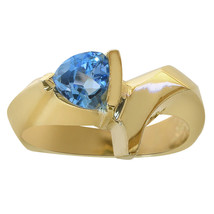 1.00 Carat Trillion Cut Blue Topaz Ladies Ring 14K Yellow Gold - $296.01