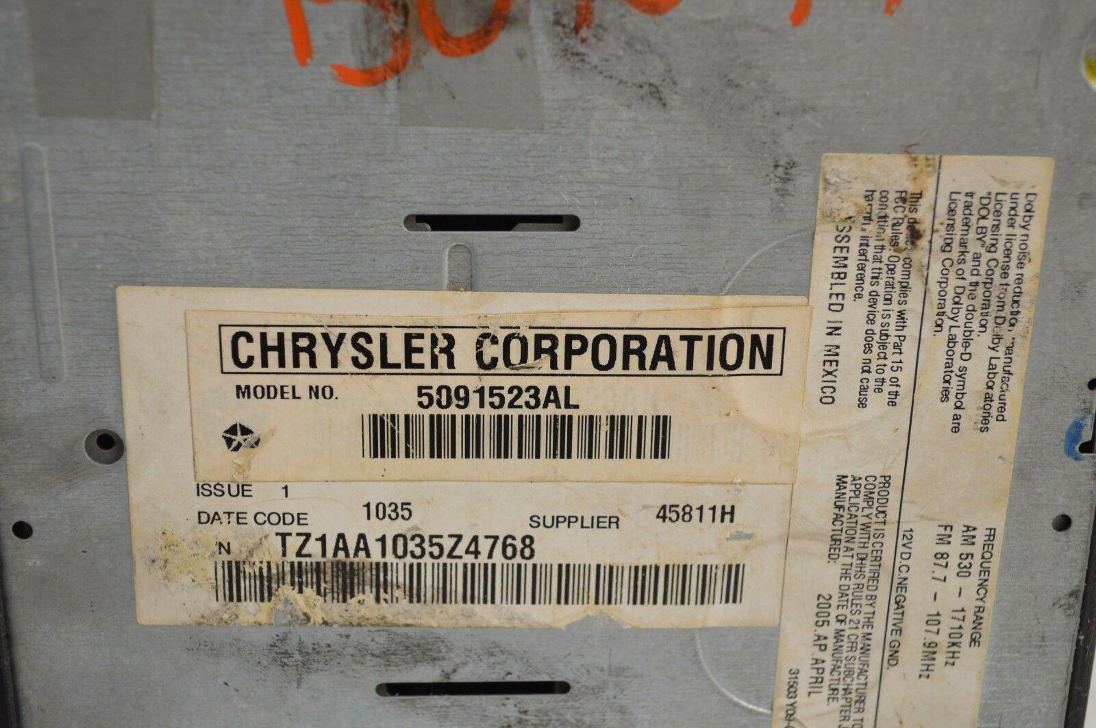 2005-2007 CHRYSLER DODGE RADIO 6 CD MP3 CASSETTE PLAYER TESTD 5091523AL AA36#016 image 5