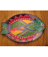 Handpainted Mexican redware fish platter - $34.20
