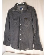 Wrangler Pearl Snap Shirt - Dark Gray -- Regular Fit X-Long Tails - 17.5... - $26.95