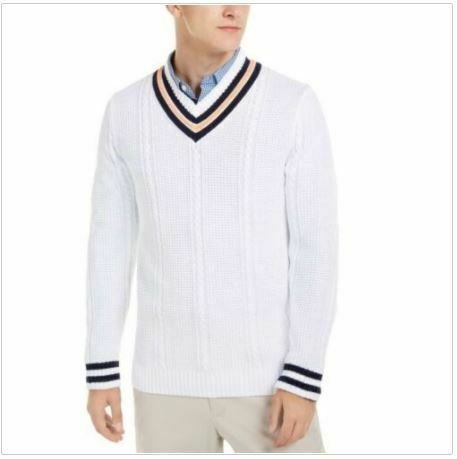 Club Room men's Designer V-Neck Cotton Knit Sweater LARGE White. SEALED!