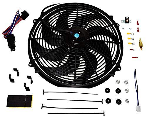 A-Team Performance Radiator Electric Cooling Fan 16inch Heavy Duty 12V Wide Curv