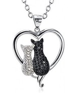Angel Caller Cat Necklaces 925 Sterling Silver Jewelry Cute Double Two-... - $57.97