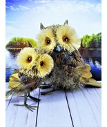 Mother Owl And Owlet Figures Made With Feathers Pine Cone Scales Bristle... - $24.65