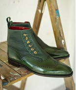Handmade Men Two Tone Green Leather Boot, Men Ankle High Button Formal Boot - $139.99 - $179.99