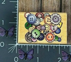 Hero Arts Cluster Of Buttons Rubber Stamp 1997 C1158 Wood Mount #X144 - $3.22