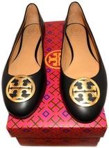Tory Burch BENTON Reva Ballerina Flats Gold Logo Ballet Shoe 12 Black Le... - $169.00