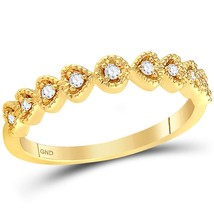 14kt Yellow Gold Womens Round Diamond Heart Stackable Band Ring 1/10 Cttw - £212.51 GBP