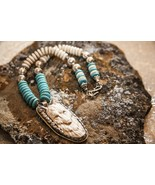 Spirit Wolf - Turquoise Necklace Wolf Pendant Antique Silver  - $210.00