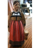 Antique Hand Carved Painted Wood Old Woman with Milk Bucket Figurine - $36.58