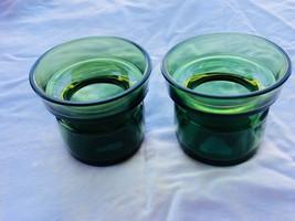 2 Vintage Dansk Denmark Green Glass Candle Holders Quistgaard Votive 22803 - $27.02
