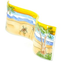 Fused Art Glass Ocean Baby Sea Turtle Wavy Decor Sun Catcher Handmade Ecuador image 2