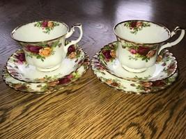 Pair Royal Albert Old Country Roses Tea Trios Vintage China - $17.96
