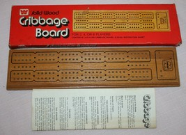 Vintage Whitman Solid Wood Cribbage Board #4230 in Original Box - Instru... - $31.91